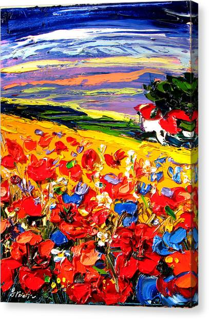 Poppies In The Spring Time.  Canvas Print by Maya Green