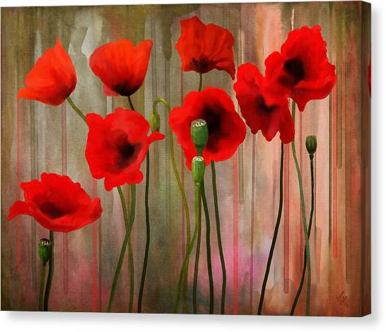 Canvas Print featuring the painting Poppies  by Ivana Westin