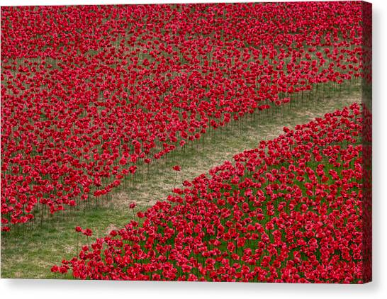 Peace Tower Canvas Print - Poppies Of Remembrance by Martin Newman
