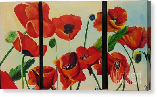 Canvas Print featuring the painting Poppies by Saundra Johnson