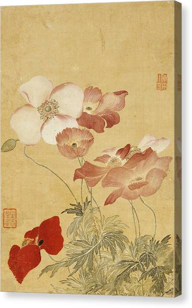 Wedding Bouquet Canvas Print - Poppies by Yun Shouping
