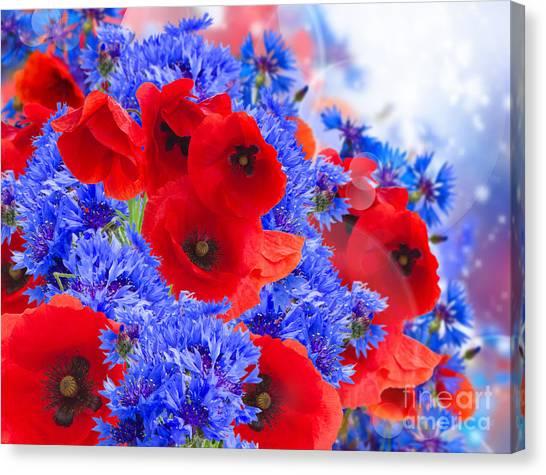 Poppy And Cornflower Flowers Canvas Print