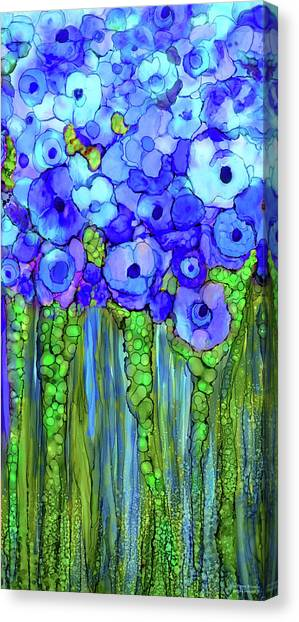 Canvas Print featuring the mixed media Poppy Bloomies 2 - Blue by Carol Cavalaris