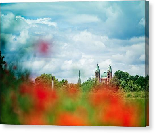 Cathedrals Canvas Print - Poppy Field And Speyer Cathedral by Nailia Schwarz