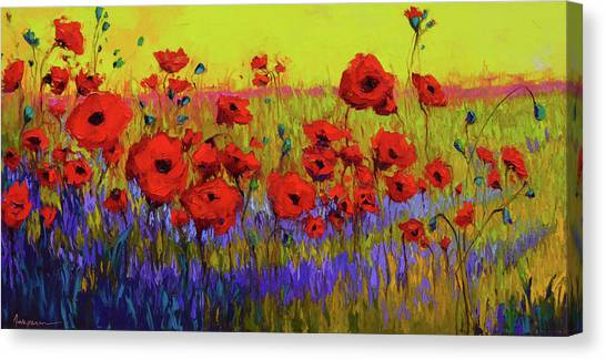 Poppy Flower Field Oil Painting With Palette Knife Canvas Print