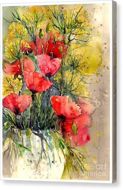Wind Farms Canvas Print - Poppy Impression by Suzann's Art