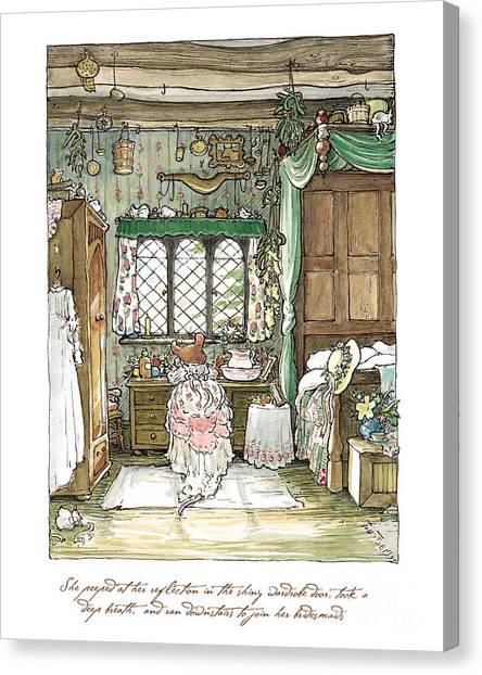 Dogwood Canvas Print - Poppy Puts On Her Wedding Dress by Brambly Hedge