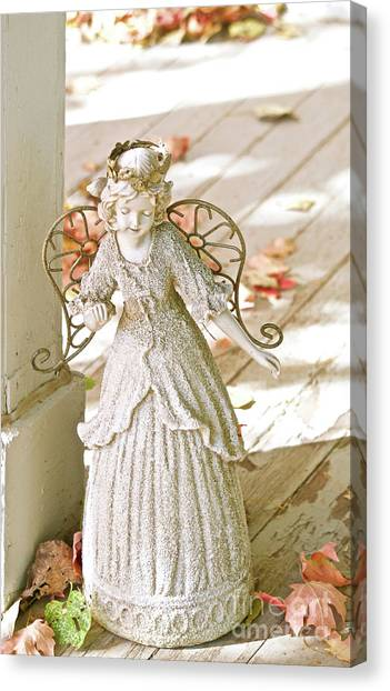 Porch Angel In The Fall Canvas Print