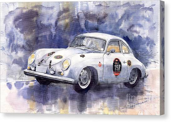 Sports Cars Canvas Print - Porsche 356 Coupe by Yuriy Shevchuk
