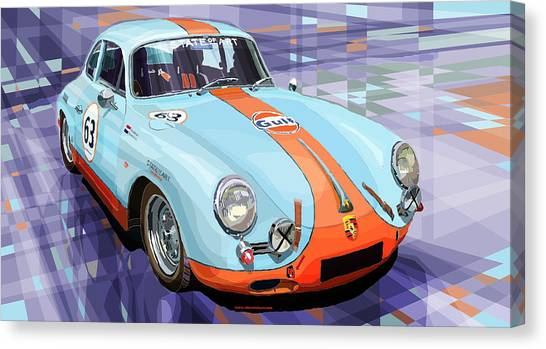 Sports Cars Canvas Print - Porsche 356 Gulf by Yuriy Shevchuk