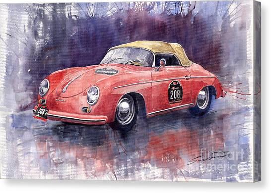 Porsche Canvas Print - Porsche 356 Speedster Mille Miglia by Yuriy Shevchuk