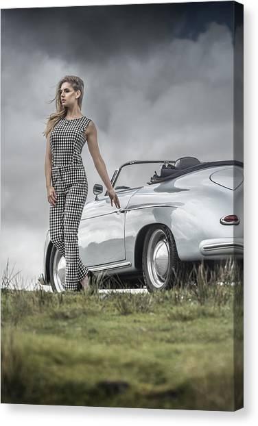 Porsche 356 Speedster With Model Canvas Print