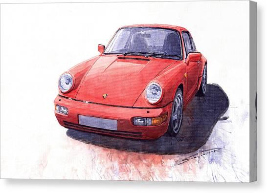 Porsche Canvas Print - Porsche 911 Carrera 2 1990 by Yuriy Shevchuk