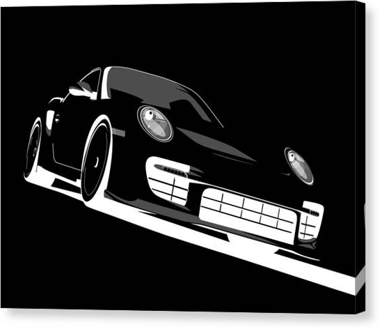 Porsche Canvas Print - Porsche 911 Gt2 Night by Michael Tompsett