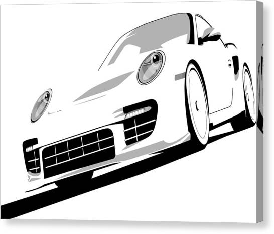 Porsche Canvas Print - Porsche 911 Gt2 White by Michael Tompsett