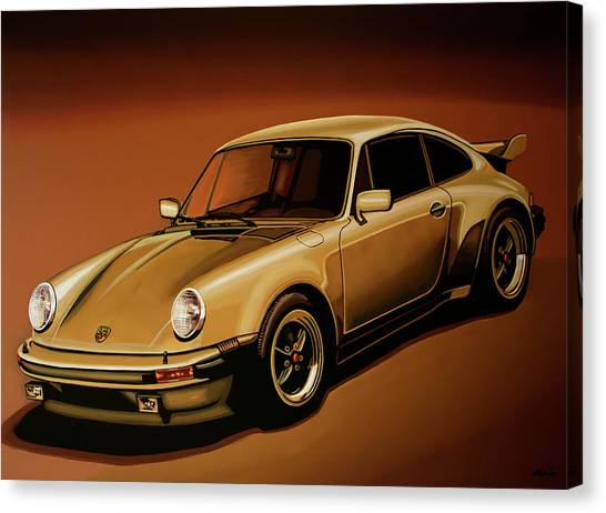Realism Art Canvas Print - Porsche 911 Turbo 1976 Painting by Paul Meijering