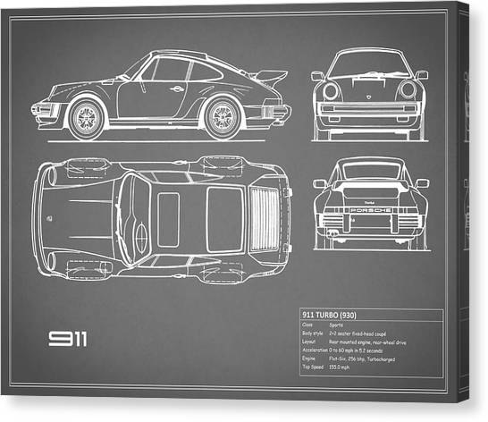 Car blueprint canvas prints fine art america car blueprint canvas print porsche 911 turbo blueprint gray by mark rogan malvernweather Gallery
