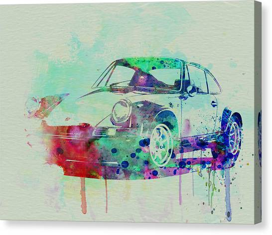 Cars Canvas Print - Porsche 911 Watercolor 2 by Naxart Studio