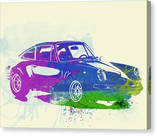 Porsche Canvas Print - Porsche 911 Watercolor by Naxart Studio