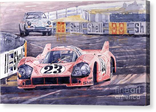 Pigs Canvas Print - Porsche 917-20 Pink Pig Le Mans 1971 Joest Reinhold by Yuriy Shevchuk