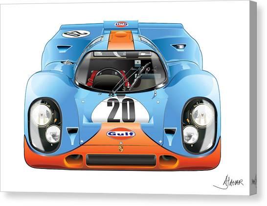 Porsche 917 Gulf On White Canvas Print