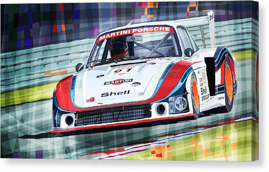 Mixed-media Canvas Print - Porsche 935 Coupe Moby Dick Martini Racing Team by Yuriy Shevchuk