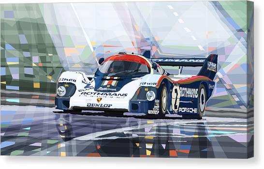 Transportation Canvas Print - Porsche 956 Rothmans 1982 1000km Francorchamps Derek Bell by Yuriy Shevchuk