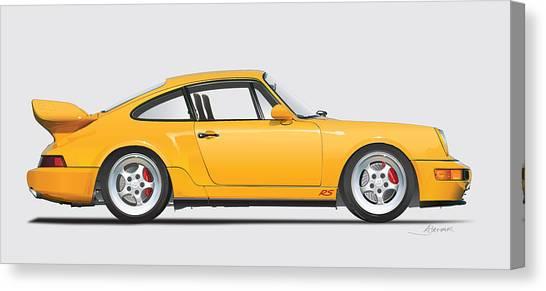 Porsche 964 Carrera Rs Illustration In Yellow. Canvas Print