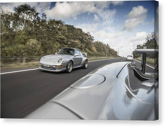 Porsche 993 Gt2 With Carrera Gt And 1973 2.7 Rs Canvas Print