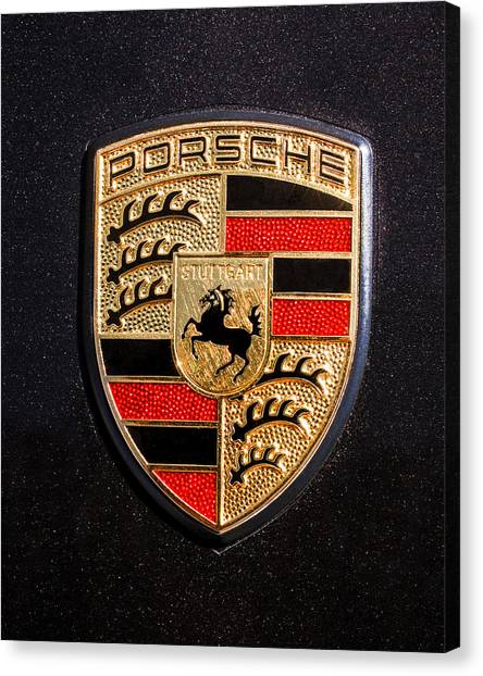 Car Canvas Print - Porsche Emblem -211c by Jill Reger