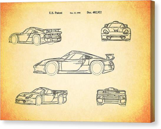 Porsche blueprint canvas prints page 2 of 3 fine art america porsche blueprint canvas print porsche racing car patent 1998 by mark rogan malvernweather Gallery