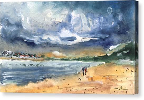 People Walking On Beach Canvas Print - Port Alcudia Beach 03 by Miki De Goodaboom