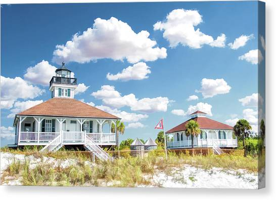 Canvas Print featuring the painting Port Boca Grande Lighthouse by Christopher Arndt
