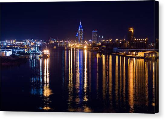 Port City In Blue Canvas Print