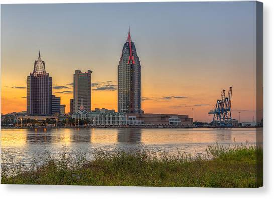 Port City Sunset 2 Canvas Print