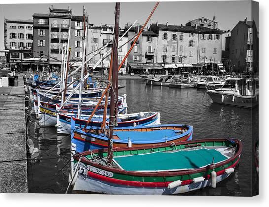 Canvas Print featuring the photograph Port De Saint Tropez  France by Georgi Djadjarov