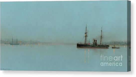 John Boats Canvas Print - Port Light by John Atkinson Grimshaw