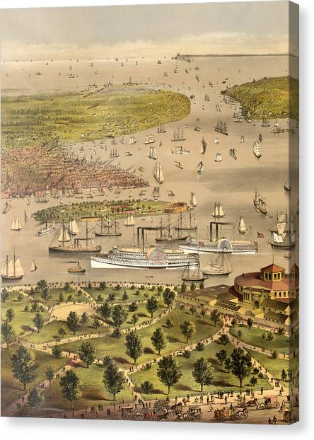 Currier And Ives Canvas Print - Port Of New York, Birds Eye View From The Battery Looking South, Circa 1878 by Currier and Ives