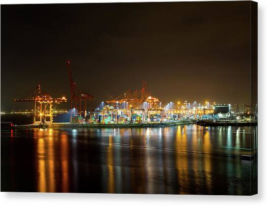 Canvas Print - Port Of Vancouver Bc At Night by David Gn