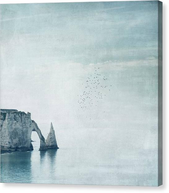Etretat Canvas Print - Porte D'aval And Aiguille Chalk Cliffs by Dirk Wuestenhagen