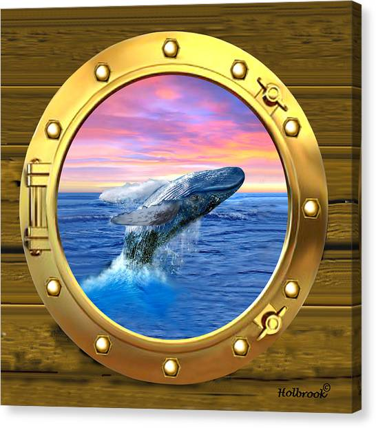 Porthole View Of Breaching Whale Canvas Print