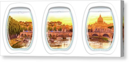 Porthole Windows On Rome Canvas Print