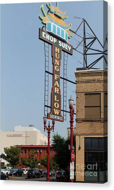 Chinese Restaurant Canvas Print - Portland Chinatown Hung Farlow Chop Suey Chinese Restaurant Portland Oregon 5d3466 by Wingsdomain Art and Photography