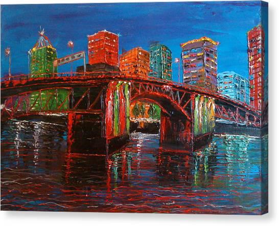 Portland City Lights Over The Morrison Bridge Canvas Print by Portland Art Creations