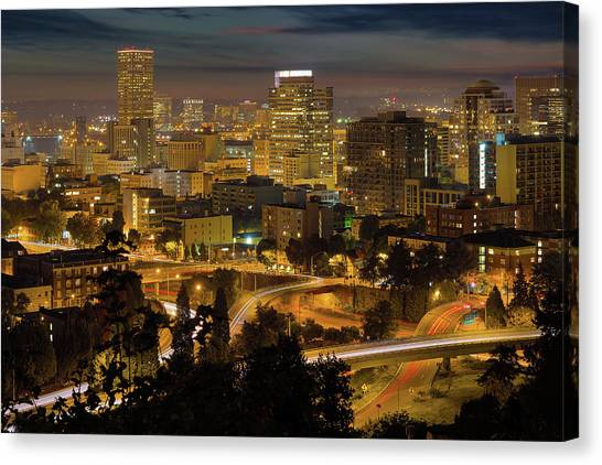 Canvas Print - Portland Downtown Cityscape And Freeway At Night by David Gn