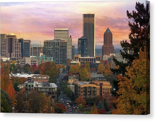 Canvas Print - Portland Downtown Cityscape During Sunrise In Fall by David Gn