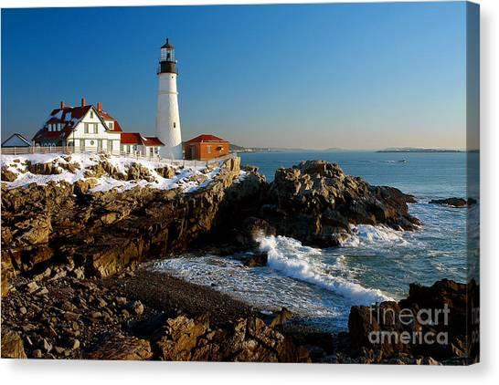 Portland Lighthouse Canvas Print - Portland Head Light - Lighthouse Seascape Landscape Rocky Coast Maine by Jon Holiday