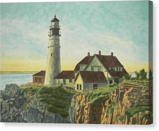 Canvas Print featuring the painting Portland Head Light At Sunrise by Dominic White