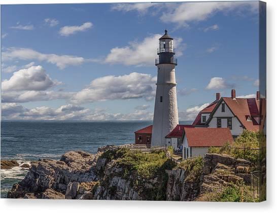 Rocky Maine Coast Canvas Print - Portland Head Light by Capt Gerry Hare