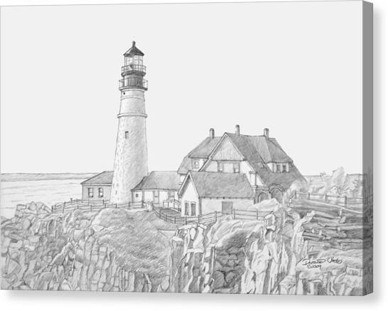 Portland Head Light Drawing Canvas Print